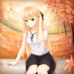 1girl adjusting_hair autumn autumn_leaves black_ribbon black_skirt blonde_hair collarbone day eyebrows_visible_through_hair gamers! green_eyes hair_between_eyes hair_ribbon highres long_hair neck_ribbon outdoors ribbon shirt sitting skirt sleeveless sleeveless_shirt smile solo tendou_karen tree very_long_hair white_shirt yj_(yujay2837)