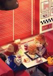 1boy 1girl absurdres blonde_hair copyright_request diner eating food green_eyes hamburger highres kuroda_(kuro_yyy) open_mouth sitting window