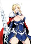 1girl ahoge armor artoria_pendragon_(all) artoria_pendragon_(lancer) bangs blue_legwear blush braid breasts cape cleavage crown fate/grand_order fate_(series) faulds french_braid fur-trimmed_cape fur_trim gauntlets green_eyes hair_between_eyes highres kawabata_yoshiro lance large_breasts long_hair looking_at_viewer parted_lips polearm red_cape rhongomyniad sidelocks simple_background smile solo thighs underbust weapon white_background