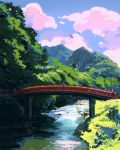blue_sky bridge clouds cloudy_sky commentary copyright_request day english_commentary grass highres ilya_kuvshinov no_humans oriental_umbrella outdoors red_umbrella river scenery sky umbrella water