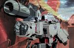 ahriman_(artist) arm_cannon blue_sky commentary damaged decepticon desert dirty energy_cannon english_commentary fake_screenshot fake_video glowing glowing_eyes highres insignia mecha megatron red_eyes robot rock science_fiction signature sky smoke space_craft transformers upper_body video weapon