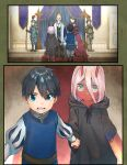 1boy 1girl 3boys 3girls armor armored_boots bandage black_cloak black_hair blue_eyes bomhat boots brown_hair cape child cloak comic commentary couple crown darling_in_the_franxx dress english_commentary eyebrows_visible_through_hair facial_hair fur_boots green_eyes hand_holding helmet hetero highres hiro_(darling_in_the_franxx) holding holding_spear holding_weapon hood hooded_cloak horns king long_hair multiple_boys multiple_girls mustache no_eyes old_man oni_horns parka pink_hair polearm prince puff_and_slash_sleeves puffy_sleeves purple_cape queen red_dress red_horns red_pupils red_sclera red_skin short_hair spear weapon white_hair zero_two_(darling_in_the_franxx)