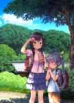 2girls antenna_hair backpack bag bangs black_hair blue_skirt blush brown_eyes brown_shorts building child closed_mouth collarbone day drinking grass hair_ribbon holding ichijou_hotaru layered_skirt miyauchi_renge multiple_girls non_non_biyori outdoors path pink_shirt power_lines profile purple_hair randoseru ribbon road shade shirt short_sleeves shorts skirt smile standing striped striped_shirt sweat swept_bangs thermos tree yellow_ribbon yoshimura_(yoshimura4shi)