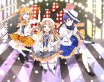 3girls bangs blue_eyes blue_hair commentary_request earrings gloves grey_hair hair_between_eyes hat highres jewelry kousaka_honoka long_hair looking_at_viewer love_live! love_live!_school_idol_festival love_live!_school_idol_project minami_kotori misoradeko multiple_girls necktie one_eye_closed one_side_up open_mouth orange_hair plaid smile sonoda_umi thigh-highs white_legwear yellow_eyes