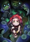 1girl bare_shoulders boots bracelet breasts character_request clenched_teeth commentary_request fingerless_gloves gloves green_eyes gun highres holding holding_gun holding_weapon jewelry kousaku legs_apart looking_at_viewer medium_breasts octoling paint_gun pointy_ears redhead slime splatoon splatoon_2 standing sweatdrop teeth tentacle_hair weapon wide-eyed you_gonna_get_raped