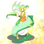 1girl bel_(pokemon) blonde_hair breasts commentary_request green_hat hat looking_at_viewer orange_legwear pokemon pokemon_(game) pokemon_bw serperior short_hair