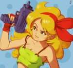 1girl blonde_hair blue_background breasts cleavage commentary crop_top curly_hair dark_persona dragon_ball dragon_ball_(classic) english_commentary eyebrows fingerless_gloves gloves green_eyes gun hairband holding holding_gun holding_weapon imi_uzi joakim_sandberg lips long_hair lunch_(dragon_ball) medium_breasts polka_dot polka_dot_background red_gloves red_hairband solo spaghetti_strap stomach submachine_gun trigger_discipline weapon