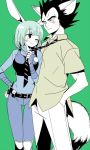 1boy 1girl ;) animal_ears belt black_eyes black_hair blue_hair blue_shirt blush bulma cosplay cowboy_shot crossover denim disney dragon_ball eyebrows_visible_through_hair fox_ears fox_tail green_background half-closed_eyes hand_in_pocket hand_on_hip jeans judy_hopps judy_hopps_(cosplay) kanekiyo_miwa long_sleeves looking_at_another necktie nick_wilde nick_wilde_(cosplay) one_eye_closed pants police police_uniform policewoman rabbit_ears shirt short_hair simple_background smile spiky_hair tail tank_top uniform upper_body vegeta walkie-talkie zootopia