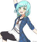 1girl :d aqua_hair arm_up bang_dream! bangs blouse bow eyebrows_visible_through_hair green_eyes hair_bow highres hikawa_hina jewelry looking_at_viewer nan0teck open_mouth outstretched_arm pendant plaid plaid_shirt shirt short_hair short_sleeves side_braids smile solo swept_bangs teeth upper_body yellow_bow