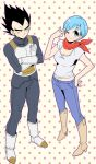 1boy 1girl armor black_eyes black_hair blue_hair blush boots bulma cowboy_boots crossed_arms denim dragon_ball dragon_ball_super dragon_ball_z_fukkatsu_no_f dragonball_z expressionless eyebrows_visible_through_hair frown full_body gloves hand_on_hip jeans kanekiyo_miwa looking_at_another looking_at_viewer looking_up neckerchief pants pink_background red_neckwear serious shirt short_hair simple_background spiky_hair v vegeta white_shirt