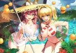 2girls :d ahoge animal_ears ball bangs beach beach_umbrella beachball bikini blonde_hair blue_bikini blue_sky blush breasts brown_eyes carrying_under_arm cleavage clouds cloudy_sky collarbone commentary_request criss-cross_halter day ears_through_headwear eyebrows_visible_through_hair fang fate/grand_order fate_(series) flower food fox_ears fox_girl fox_tail fruit green_eyes hair_between_eyes hair_intakes halterneck hat holding holding_umbrella large_breasts leaning_forward lemon long_hair looking_at_viewer meadow multiple_girls navel nero_claudius_(fate)_(all) nero_claudius_(swimsuit_caster)_(fate) open_mouth outdoors pink_hair red_flower sand see-through shirt short_sleeves side-tie_bikini sky smile standing straw_hat striped striped_bikini swimsuit tail tamamo_(fate)_(all) tamamo_no_mae_(swimsuit_lancer)_(fate) torimahera transparent twintails umbrella water