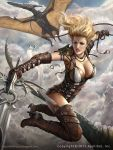 1girl alex_negrea armor bare_shoulders blonde_hair blue_eyes bodysuit boots breasts cleavage clouds gloves headband high_heel_boots high_heels legend_of_the_cryptids lipstick long_hair makeup official_art piercing pterodactyl sky solo sword tattoo teeth weapon