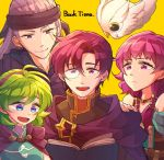 2boys 2girls bare_shoulders black_headband blue_eyes book canas cape closed_mouth feh_(fire_emblem_heroes) fire_emblem fire_emblem:_rekka_no_ken fire_emblem:_seima_no_kouseki fire_emblem_heroes green_hair hairband headband holding holding_book hzk_(ice17moon) jewelry legault long_hair lute_(fire_emblem) monocle multiple_boys multiple_girls necklace nino_(fire_emblem) open_book open_mouth purple_hair purple_hairband scar scar_across_eye short_hair simple_background smile twintails violet_eyes yellow_background