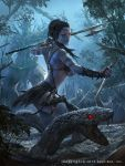 1girl alex_negrea back bare_shoulders black_hair blue_skin breasts bug circlet dagger faceless faceless_male fangs glowing glowing_eyes jewelry leaf legend_of_the_cryptids lingerie long_hair midriff necklace official_art open_mouth polearm red_eyes snake solo spear tattoo teeth tree underwear water weapon