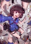 1girl :d absurdres akiyama_yukari bag bangs bc_freedom_(emblem) bc_freedom_school_uniform black_footwear black_legwear black_skirt blue_neckwear blue_sweater blurry blurry_foreground brown_eyes brown_hair card cardigan character_doll day depth_of_field diagonal_stripes dirty_clothes dog_tags dress_shirt emblem english explosive eyebrows fan folding_fan footprints foreshortening from_above girls_und_panzer grenade handbag highres huira444 keychain korean_commentary leaf loafers long_sleeves looking_at_viewer loose_necktie lying messy_hair miniskirt necktie nishizumi_miho on_back on_ground open_mouth outdoors paper pleated_skirt pointing purple_neckwear recording rotated school_uniform self_shot shadow shirt shoes short_hair skirt smile socks solo_focus sparkle stone_floor striped striped_neckwear sweater timestamp torn_clothes twitter_username v viewfinder white_shirt wing_collar