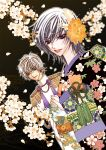 2boys black black_background black_kimono brown_hair clothes code_geass couple crossdressing floral_print flower formal furisode green_eyes grey_hair highres hiki_furisode holding japanese_clothes kimono kou_(suzalulu) kururugi_suzaku lelouch_lamperouge lipstick looking_down makeup multiple_boys obi print_kimono sash together tuxedo upper_body v-shaped_eyebrows violet_eyes wedding yaoi