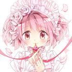 1girl ayumaru_(art_of_life) blush bow dress flower hair_flower hair_ornament kaname_madoka looking_at_viewer mahou_shoujo_madoka_magica pink_eyes pink_hair ribbon short_hair simple_background smile soul_gem twintails white_dress