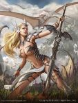 1girl alex_negrea armor bare_shoulders bird blonde_hair blue_eyes bodysuit breasts center_opening cleavage clouds flower grass headband legend_of_the_cryptids lipstick long_hair makeup midriff navel official_art pterodactyl sky solo sword teeth weapon