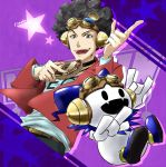 1boy afro artist_name belt black_hair brown_eyes cellphone curly_hair fangs fuse_tarou goggles goggles_on_head hat headphones highres jack_frost jewelry male_focus necklace open_mouth phone shin_megami_tensei shin_megami_tensei:_liberation_dx2 solo star teeth