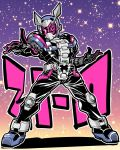 1boy belt bodysuit character_name full_body gradient gradient_background helmet kamen_rider kamen_rider_zi-o kamen_rider_zi-o_(series) katana_(life_is_beautiful) male_focus outstretched_hand pose purple_background simple_background star starry_background
