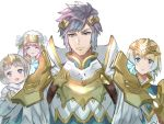 1boy 3girls aqua_eyes armor blonde_hair blue_hair brother_and_sister closed_eyes closed_mouth crown earrings family feather_trim fire_emblem fire_emblem_heroes fjorm_(fire_emblem_heroes) gradient_hair gunnthra_(fire_emblem) hamomo_fe hrid_(fire_emblem_heroes) jewelry long_hair long_sleeves multicolored_hair multiple_girls open_mouth pink_hair short_hair shoulder_armor siblings silver_hair simple_background sisters smile veil violet_eyes white_background ylgr_(fire_emblem_heroes)