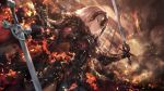 1girl armor armored_dress army azomo bangs banner black_armor black_capelet black_cloak black_dress black_gloves blurry breasts capelet cowboy_shot depth_of_field dragon dress dutch_angle eyebrows_visible_through_hair fate/grand_order fate_(series) faulds fire from_below fur-trimmed_cloak fur_collar gauntlets gloves grey_hair hair_between_eyes headpiece highres holding holding_sword holding_weapon jeanne_d'arc_(alter)_(fate) jeanne_d'arc_(fate)_(all) large_breasts looking_away outdoors plackart planted_sword planted_weapon short_hair smile smirk smoke standing sword tsurime weapon white_hair wind yellow_eyes