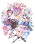 3girls atelier_(series) atelier_meruru atelier_rorona atelier_totori auburn_hair bare_shoulders blue_eyes boots bow braid brown_dress capelet cleavage_cutout crown detached_sleeves dress flower grey_eyes half_updo hat headdress highres jewelry key_visual kishida_mel light_brown_hair long_hair long_sleeves merurulince_rede_arls multiple_girls official_art pendant pink_hair red_bow rororina_fryxell totooria_helmold white_background wide_sleeves