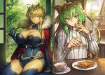2girls ahoge animal_ears artoria_pendragon_(all) artoria_pendragon_(lancer) atalanta_(fate) bangs blue_legwear blue_leotard braid breasts cape cat_ears chair cleavage cleavage_cutout closed_mouth covered_navel crown cup detached_sleeves eating eyebrows_visible_through_hair fate/grand_order fate_(series) finger_to_mouth fork french_braid fur-trimmed_cape fur_trim gradient_hair green_eyes green_hair hair_between_eyes holding holding_fork house indoors large_breasts leotard looking_at_viewer melon22 multicolored_hair multiple_girls plate red_cape ribbed_sweater shouji sidelocks sitting sliding_doors smile steam sweater table tatami tree turtleneck turtleneck_sweater two-tone_hair window