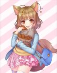 :d animal_ears asymmetrical_clothes bag bracelet brown_hair ear_piercing eating fennery_(show_by_rock!!) food food_on_face fox_ears fox_tail frilled_skirt frills hair_ornament hairclip handbag jacket jewelry long_sleeves open_mouth orange_eyes paper_bag piercing pink_background rusha_(r_style) scarf short_hair show_by_rock!! simple_background skirt smile tail taiyaki thigh-highs two-tone_background wagashi white_background zettai_ryouiki