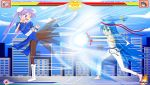 2girls absurdres barefoot blue_dress blue_eyes blue_hair boots bracelet bun_cover capcom china_dress chinese_clothes chun-li chun-li_(cosplay) commentary cosplay dougi dress eyebrows_visible_through_hair fighting fighting_stance giantess gloves green_eyes hadouken headband highres hiiragi_kagami izumi_konata jenny_secret jewelry kicking lucky_star multiple_girls pantyhose parody pixiv puffy_short_sleeves puffy_sleeves purple_hair red_gloves ryuu_(street_fighter) ryuu_(street_fighter)_(cosplay) short_sleeves spiked_bracelet spikes street_fighter twintails white_footwear