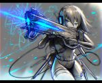 1girl backpack bag blue_eyes bodysuit eyebrows_visible_through_hair facing_viewer firing gia gloves headset holding holding_weapon original railgun science_fiction short_hair signature solo spot_color weapon