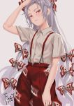 1girl arm_up artist_name blush bow chinese_commentary commentary_request cowboy_shot fkey forehead fujiwara_no_mokou grey_background hair_bow highres long_hair looking_at_viewer ofuda pants red_eyes red_pants shirt short_sleeves signature silver_hair simple_background solo standing suspenders touhou very_long_hair white_bow white_shirt wing_collar