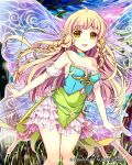 1girl alternate_color bare_shoulders blonde_hair braid breasts butterfly_wings cleavage commentary_request dress fairy fairy_wings long_hair medium_breasts mirror_image open_mouth original pointy_ears smile solo tin_(wsp85205) twin_braids watermark wings yellow_eyes