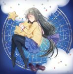 1girl absurdres black_hair black_legwear blue_skirt blush brown_footwear clannad closed_eyes clouds commentary_request constellation from_above full_body hair_ribbon highres ibuki_fuuko loafers long_hair long_sleeves low-tied_long_hair lying miniskirt on_side pantyhose parted_lips ribbon sailor_collar school_uniform serafuku shoes shoes_removed skirt sleeping solo star star_pillow very_long_hair waya_(bombe) white_sailor_collar