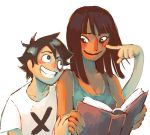 1boy 1girl aiioli_(spongeping) bangs bare_arms bare_shoulders black_eyes black_hair blunt_bangs book brown_eyes camisole cheek_poking closed_mouth collarbone dark_skin friends grin hand_on_another's_arm hand_up head_on_shoulder height_difference highres holding holding_book leaning_on_person looking_at_another medium_hair messy_hair monkey_d_luffy nico_robin no_hat no_headwear one_piece open_book poking scar shirt short_hair short_sleeves shoulder-to-shoulder simple_background smile stitches upper_body white_background white_shirt