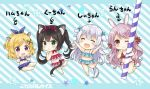 4girls :o ;) \o/ ^_^ animal_ears arms_up bangs barefoot bikini bikini_skirt black_hair blonde_hair blue_bikini blue_bow blush bow braid bunny_tail cat_ears cat_tail character_name chibi circle_name closed_eyes dog_ears dog_tail drinking_straw eyebrows_visible_through_hair french_braid from_behind green_eyes hair_bow hair_ornament hair_ribbon half_updo halterneck ham-chan_(sakurai_makoto_(custom_size)) hamster_ears hamster_tail hands_on_own_cheeks hands_on_own_face holding_drinking_straw kuu-chan_(sakurai_makoto_(custom_size)) long_hair looking_at_viewer medium_hair midriff minigirl multiple_girls navel one_eye_closed original outstretched_arms plaid plaid_bikini polka_dot polka_dot_bikini polka_dot_ribbon purple_bikini purple_hair purple_ribbon rabbit_ears ran-chan_(sakurai_makoto_(custom_size)) red_bikini red_eyes red_ribbon ribbon round_teeth sakurai_makoto_(custom_size) shii-chan_(sakurai_makoto_(custom_size)) side_braids silver_hair smile standing standing_on_one_leg star swimsuit tail teeth twintails upper_teeth x_hair_ornament