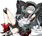 1girl armpits arms_behind_head black_shorts blue_hair blush g11_(girls_frontline) girls_frontline green_headwear green_jacket grey_eyes hat jacket knee_pads leg_up long_hair lying manarou on_back red_footwear scarf_on_head shirt shorts smile smug solo white_shirt