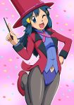 1girl alternate_costume black_legwear blue_eyes blue_hair blue_leotard blush breasts confetti formal hair_ornament hat high_heels highres hikari_(pokemon) jacket jewelry kuro_hopper leotard long_hair long_sleeves magician necklace one_eye_closed open_mouth pantyhose pink_background pokemon pokemon_(anime) red_footwear ribbon shirt shizue_(pokemon) small_breasts smile solo suit top_hat wand