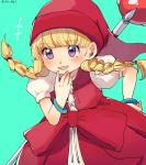 +++ 1girl :d aqua_background bangs blonde_hair blush bracelet braid dragon_quest dragon_quest_xi dress eyebrows_visible_through_hair eyes_visible_through_hair hand_on_own_chin hat highres jewelry long_hair open_mouth puffy_short_sleeves puffy_sleeves red_hat ririmon short_sleeves simple_background smile solo staff teeth twin_braids twitter_username veronica_(dq11) violet_eyes