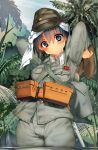 1girl absurdres belt black_eyes black_hair blush commentary eyebrows_visible_through_hair hat head_scarf highres imperial_japanese_army jungle military military_hat military_uniform nature original outdoors partially_submerged pouch samazuka_mashiro shoes_removed short_hair solo uniform