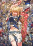 1girl absurdres arms_up bangs blonde_hair blurry blurry_background braid breasts closed_eyes confetti eyebrows_visible_through_hair fate_(series) flag french_flag happy highres holding holding_flag jeanne_d'arc_(fate) jeanne_d'arc_(fate)_(all) jumping large_breasts long_hair lovetigerfish midriff_peek open_mouth shorts single_braid smile teeth tongue white_shorts