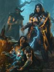 3boys armored_boots beard black_hair blue_eyes boots cape drink electricity facial_hair facial_mark fire fur_trim glowing glowing_eyes horns james_ryman leaf legend_of_the_cryptids long_hair male_focus multiple_boys official_art open_mouth shirtless sword teeth tongue tongue_out tree watermark weapon web_address