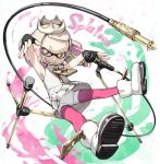 +_+ 1girl cephalopod_eyes crown fingerless_gloves gloves hime_(splatoon) kantoku microphone microphone_stand mole mole_under_mouth pantyhose smile solo splatoon splatoon_2 suction_cups tentacle_hair zipper zipper_pull_tab