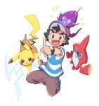 1boy ame025 gen_1_pokemon gen_4_pokemon gen_7_pokemon pikachu poipole pokemon pokemon_(creature) pokemon_(game) pokemon_sm rotom rotom_dex satoshi_(pokemon) ultra_beast