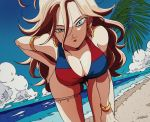 1girl android_21 armlet beach bent_over bikini blue_bikini blue_eyes blue_sky bracelet breasts brown_hair cleavage clouds dragon_ball dragon_ball_fighterz earrings eyelashes half-closed_eyes hand_on_hip hoop_earrings jewelry large_breasts looking_at_viewer multicolored multicolored_bikini multicolored_clothes ocean red_bikini sand sky solo summer swimsuit tama_azusa_hatsu