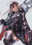 1girl ahoge armor armored_dress black_dress breasts cape chains clenched_teeth commentary_request dress fate/grand_order fate_(series) faulds flag fur_cape fur_trim gauntlets grey_background headpiece highres holding holding_flag jeanne_d'arc_(alter)_(fate) jeanne_d'arc_(fate)_(all) mocda3 silver_hair sitting smile teeth thigh-highs thighs yellow_eyes