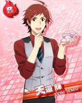 ahoge character_name coat idolmaster idolmaster_side-m necktie red_eyes red_hair short_hair smile teru_tendo
