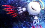 bandaid blue commentary_request dark_background floral_background halo kirby_(series) kirby_64 kurosiro light_particles looking_at_viewer no_humans one-eyed partially_submerged red_eyes ripples squinting wings zero_two_(kirby)