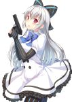 1girl bangs blue_bow blush bow buttons dress elbow_gloves eyebrows_visible_through_hair girls_frontline gloves gun hair_between_eyes hair_bow handgun hands_up highres holding holding_gun holding_weapon long_hair looking_at_viewer open_mouth partly_fingerless_gloves red_eyes sidelocks silver_hair simple_background solo star striped striped_gloves striped_legwear thigh-highs tokarev_(girls_frontline) tokarev_tt-33 weapon white_background white_dress yongheng_zhi_wu