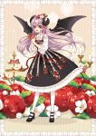 1girl :d apple bat_wings bbcat1984 black_dress black_footwear blouse bow candle dress food food_themed_hair_ornament fruit full_body hair_bow hair_ornament highres holding holding_food horns long_hair looking_at_viewer open_mouth original pantyhose pointy_ears purple_hair red_eyes shoes smile solo standing striped striped_bow tiered_tray white_blouse white_legwear wings